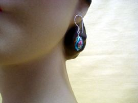 Antique Venetian Glass Slip Trailed Rose Bead Earrings on Silver Wires